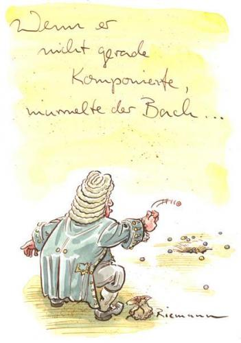 Cartoon: Bach (medium) by Riemann tagged johann,sebastian,bach,musik,geschichte,philosophy