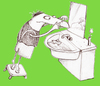 Cartoon: Morgentoilette (small) by Silvia Wagner tagged teenager,pickel,morgens,morning,bad,bathroom