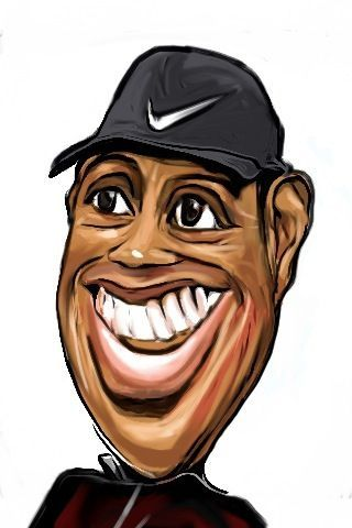 Cartoon: Tiger Woods caricature refined (medium) by jit tagged tiger,woods,caricature,refined,with,iphone,app
