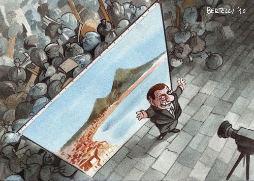 Cartoon: the italian miracle (medium) by matteo bertelli tagged miracle,italy,naples,garbage,bertelli,berlusconi,italien,silvio berlusconi,politiker,karikatur,karikaturen,silvio,berlusconi
