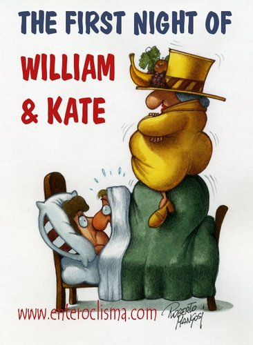 Cartoon: The first night of William Kate (medium) by Roberto Mangosi tagged royal,wedding,kate,william,marriage,charles,queen,buckingham,palace,windsor,mountbatten,middleton,westminster,abbey,camilla