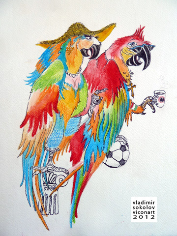 Cartoon: Italian Birds (medium) by viconart tagged italy,italian,parrot,lifestyle,tradition,animal,bird,football,soccer,coffee,romans,cartoon,viconart