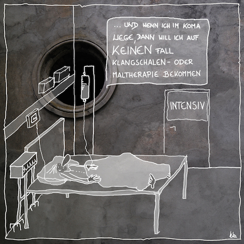 Cartoon: Koma (medium) by kika tagged koma,wachkoma,intensivstation,its,klangschalen,maltherapie,tot,krankenhaus