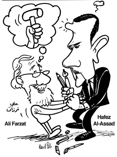 Cartoon: Ali Farzat Vs. Assad (medium) by Raed Al-Rawi tagged cartooinst