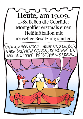 Cartoon: 19. September (medium) by chronicartoons tagged montgolfier,huhn,ente,schaf,bremer,stadtmusikanten,cartoon
