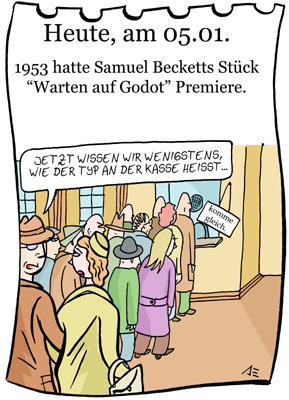 Cartoon: 5. Januar (medium) by chronicartoons tagged warten,auf,godot,absurdes,theater,beckett,cartoon