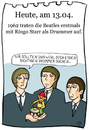 Cartoon: 13. April (small) by chronicartoons tagged john,paul,george,ringo,beat,beatles,musik,schlagzeug,drums,cartoon