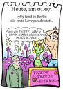 Cartoon: 1. Juli (small) by chronicartoons tagged loveparade,peace,friede,freude,eierkuchen,techno,trance,party,cartoon