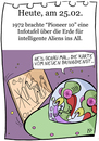 Cartoon: 25. Februar (small) by chronicartoons tagged aliens,ufo,pioneer,10,pizzabringdienst,weltall,cartoon
