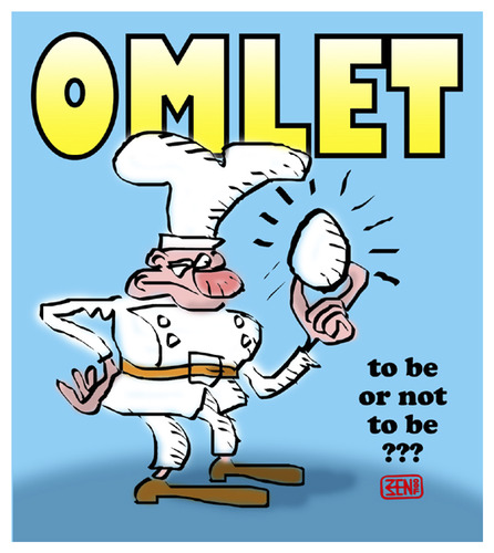 Cartoon: OMLET (medium) by zenundsenf tagged ei,dioxin,omelett,shakespeare,hamlet,andi,walter,zenundsenf,zensenf,zenf
