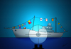 Cartoon: peace boat (small) by huseyinalparslan tagged peace boat flag terror killer
