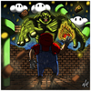 Cartoon: Mario VS Hulk (small) by Abe tagged mario,super,nes,nintendo,video,game,comic,marvel,fight,action,pose,giant,cartoon,style,art,toon,red,green,cloud,coin,brick,fire,ball,fireball