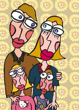 Cartoon: En famille (medium) by Albin Christen tagged famille,personnages,love,amour,lunettes,family,