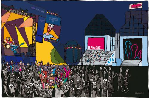 Cartoon: Montreal (medium) by Albin Christen tagged montreal,festival,music,people,