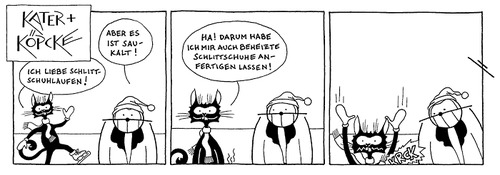 Cartoon: Kater und Köpcke - Eislaufen (medium) by badham tagged into,break,coldness,temperature,low,kälte,ice,winter,cold,kalt,heated,skates,skate,skating,eislaufen,schlittschuhe,schlittschulaufen,kater,köpcke,badham,hammel