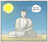 Cartoon: Buddhas smile (small) by badham tagged buddha wetter sonne religion sommer badham