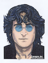 Cartoon: John Lennon (small) by DrCoragre tagged lennon drawing pop art illustration mixed media rock portrait