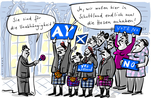 Cartoon: Hosen an (medium) by kittihawk tagged schottland,unabhängigkeit,schottland,unabhängigkeit