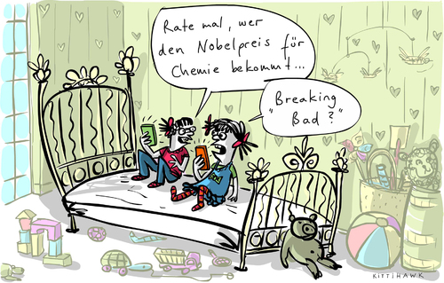 Cartoon: Nobelpreis Chemie (medium) by kittihawk tagged stockholm,teddy,bett,kinderzimmer,kult,fans,teenager,mädchen,mal,rate,bad,breaking,usa,deutschland,chemie,preis,nobel,2014,kittihawk,kittihawk,2014,nobel,preis,chemie,deutschland,usa,breaking,bad,rate,mal,mädchen,teenager,fans,kult,kinderzimmer,bett,teddy,stockholm