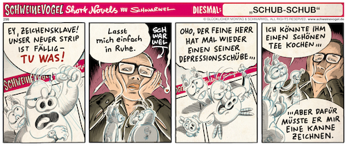Cartoon: Depression (medium) by Schwarwel tagged schwarwel,schweinevogel,comic,cartoon,comicstrip,depression,depressiv,krankheit,krank,psychische,schwarwel,schweinevogel,comic,cartoon,comicstrip,depression,depressiv,krankheit,krank,psychische