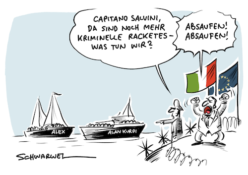 Cartoon: Seenotrettung Italien (medium) by Schwarwel tagged seenotrettung,carola,rackete,mittelmerroute,mittelmeer,flüchtlingsroute,flüchtlinge,geflüchtete,flüchtlingskrise,flüchtlingspolitik,asyl,migtationspolitik,migranten,seenot,rettungsschiff,sea,watch,ngo,ngos,flucht,europa,italien,alan,kurdi,cartoon,karikatur,schwarwel,salvini,seenotrettung,carola,rackete,mittelmerroute,mittelmeer,flüchtlingsroute,flüchtlinge,geflüchtete,flüchtlingskrise,flüchtlingspolitik,asyl,migtationspolitik,migranten,seenot,rettungsschiff,sea,watch,ngo,ngos,flucht,europa,italien,alan,kurdi,cartoon,karikatur,schwarwel,salvini