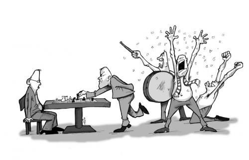 Cartoon: chess (medium) by tinotoons tagged chess,fans,