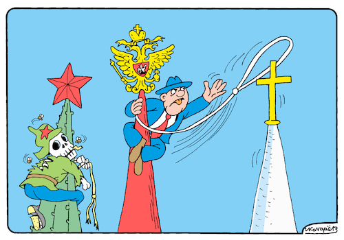 Cartoon: Anti-missionary law in Russia (medium) by Igor Kolgarev tagged kirche,gesetz,verfolgung,verbot,missionsarbeit,sekte,staat,schreiber,glaube,church,law,persecution,ban,missionary,work,sect,state,official,faith