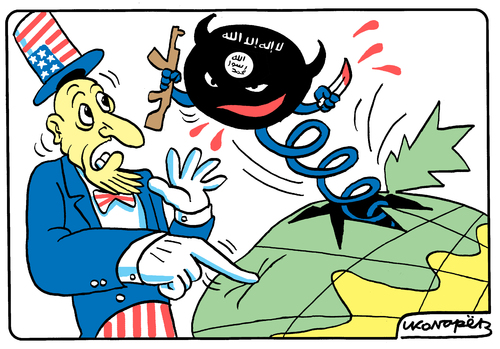 Cartoon: USA and ISIL (medium) by Igor Kolgarev tagged terrorists,islam,fundamentalists,americans,united,states,caliphate,radicals,war,fundamentalisten,amerikaner,vereinigte,staaten,kalifat,radikale,krieg