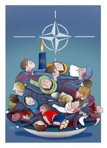 Cartoon: 70th Anniversary  of NATO! (medium) by Shahid Atiq tagged afganistan