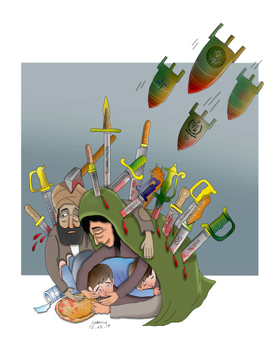 Cartoon: AFGHANS WANT PEACE ! (medium) by Shahid Atiq tagged afganistan