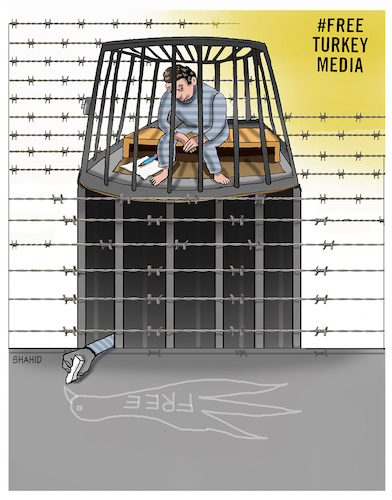 Cartoon: Free Turkey Media ! (medium) by Shahid Atiq tagged jounalism,is,not,crime