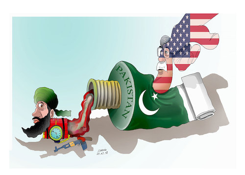 Cartoon: Pakistan and John Bolton ! (medium) by Shahid Atiq tagged afghanistan,balkh,helmand,kabul,london,nangarhar,and,ghor,attack
