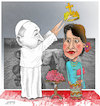 Cartoon: Pope in Myanmar ! (small) by Afghancartoon tagged myanmar