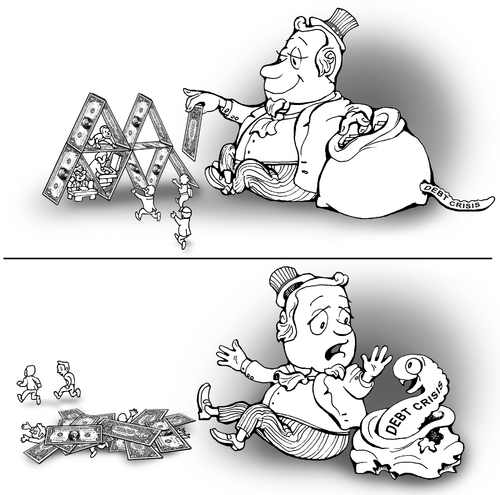 Cartoon: house of cards (medium) by gonopolsky tagged crisis,debt,dollar