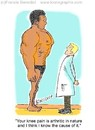 Cartoon: doctor and patient (small) by efbee1000 tagged medical,doctor,legpain,athritis,clinical,pain,patient
