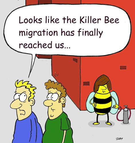 Cartoon: No country for old bees (medium) by sardonic salad tagged killer,bees
