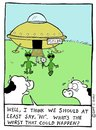 Cartoon: alien trouble (small) by sardonic salad tagged cows,aliens,mutilation,sardonic,salad,cartoon,comic,space