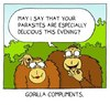 Cartoon: Compliments (small) by sardonic salad tagged gorilla,parasite,cartoon,comic,compliment,sardonic,salad