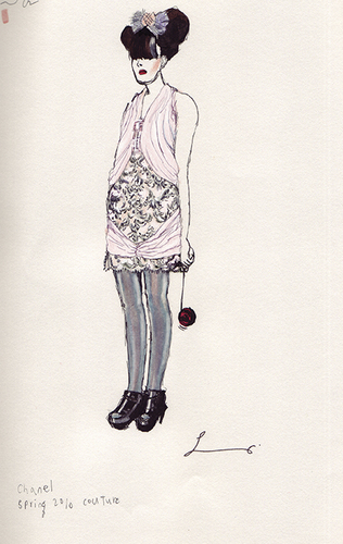 Cartoon: Chanel Spring 2010 Couture (medium) by lavi tagged fashion,illustration,illu,chanel,clothing,pink,style,ink,hand,spring,couture