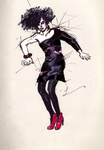 Cartoon: Marc Jacobs Fall 2009 (medium) by lavi tagged fashion,illustration,marc,jacobs,black,dress,80s,hand,drawing,lavi,liao