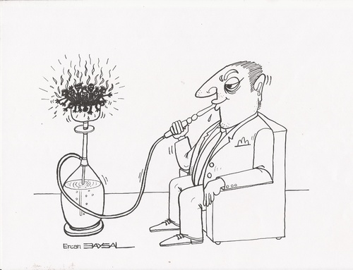 Cartoon: Smoking Fire (medium) by ercan baysal tagged pen,pencil,image,picture,vision,opinion,idea,job,art,draw,good,grotesk,baysal,cartoon,fire,smoking,sketch,handmade,capitalism,white,black,man,line,ink,ercanbaysal,merciless,humour