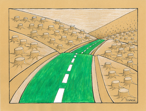 Cartoon: Green Way (medium) by ercan baysal tagged green,way,road,tree,forest,root,roots,cartoon,illustration,humour,satire,dream,daydream,vision,idea,picture,handmade,ercanbaysal,turkey,türkiye