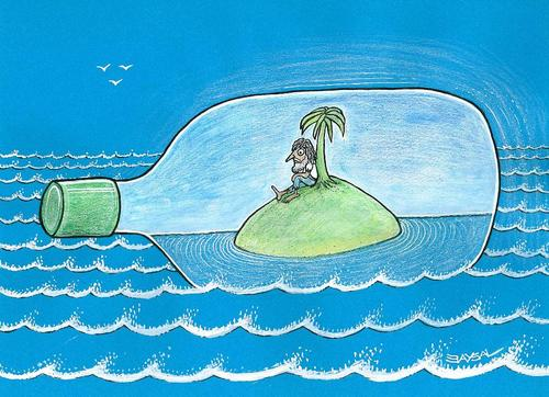 Cartoon: Desert Island (medium) by ercan baysal tagged turkey,man,türkiye,colour,seaman,humour,bottle,absurd,artwork,work,art,handmade,vivaldi,loneliness,summer,illustration,cartoon,ercanbaysal,island,blue