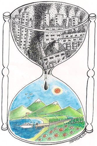 Cartoon: Nature (medium) by ercan baysal tagged hourglass,black,white,coloured,satire,art,work,draw,handmade,ecology,hour,cartoon,life,industry,death,ercanbaysal,humor,artgrafik