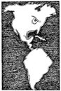 Cartoon: USA and Cuba (small) by ercan baysal tagged usa,türkiye,turkey,ercanbaysal,grotesk,opinion,good,job,work,draw,magazine,image,picture,pen,pencil,study,form,depict,idea,vision,fantasy,politics,map,logo,black,white,dollar,neighbor,line,ink,cuba