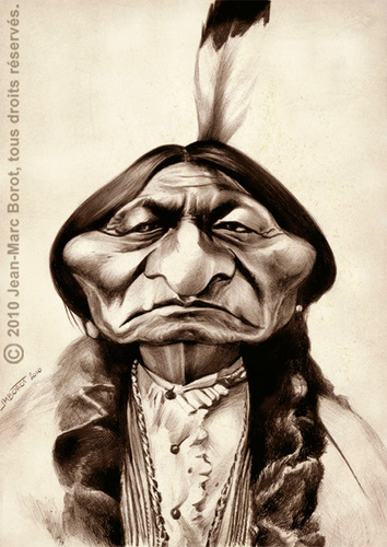 Cartoon: Sitting Bull (medium) by jmborot tagged sittingbull,indian,caricature,jmborot