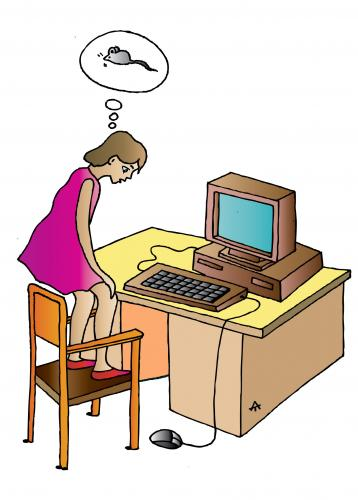 Cartoon: Girl And PC (medium) by Alexei Talimonov tagged pc,mouse,internet