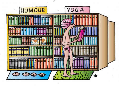 Cartoon: Library (medium) by Alexei Talimonov tagged library,yoga,humor,books,literature