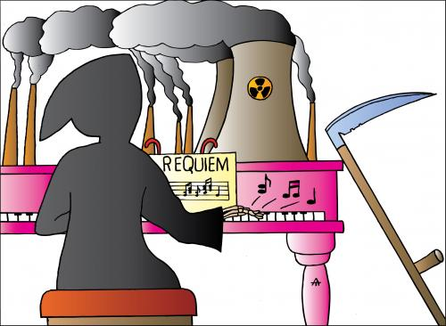 Cartoon: Requiem (medium) by Alexei Talimonov tagged requiem,nuclear,energy
