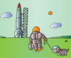Cartoon: astronaut and dog (small) by Alexei Talimonov tagged astronaut,dog,hund